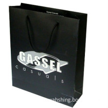 Matt black paper bags with UV printing