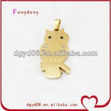 Gold Edelstahl Eule Halskette mit Kette