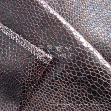 Tecido de couro sintético bronzeado com reforço para estofados
