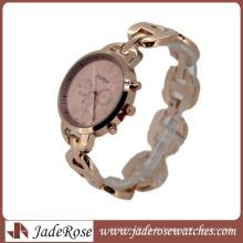 Rosegold elegante rosa Zifferblatt Mode Quarzuhr für die Dame