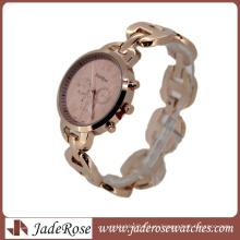 Дизайн элегантный розовый Циферблат мода Кварцевые часы для Леди