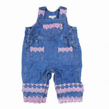 Baby Jeans Overall with Pink Embroidery Decoration on the Leg and Pocket