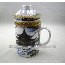 Haonai taza de té de cerámica china tradicional con filtro y tapa