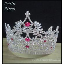 Großhandel Hochzeit Silber Schmuck Tiara Kinder Prinzessin rosa Festzug Kronen
