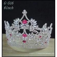 Vente en gros de bijoux en argent de mariage Tiara kids princess pink crowns