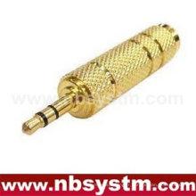 Fiche stéréo 3,5mm en or de haute qualité à 6,35 mm stéréo, adaptateur adaptateur mono pour microphone ordinateur métal
