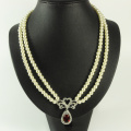 Double Row Pearl Necklace dengan Loket