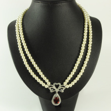 Double Row Pearl Necklace with Pendant