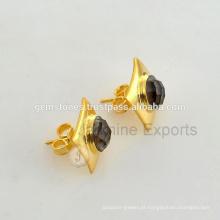 Brinco de pedras preciosas semi-preciosas com vermeil de ouro