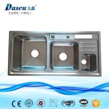 DS9245 fabricante de fornecimento de utensílios de cozinha de aço inoxidável duplo Pia com caixa de lixo