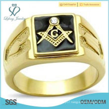 Black Square Masons Masonic Ring Gold EP Lifetime Guarante