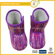 Jolie paillette en tissu jeune fille bottes d'hiver pour bébés