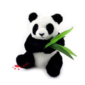 plush big panda toy with bamboo