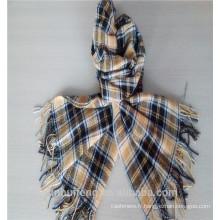 Châle mélangé à carreaux à la mode avec cachemire et laine