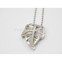 Edelstahl hohle Silber große Blatt Anhänger Halskette
