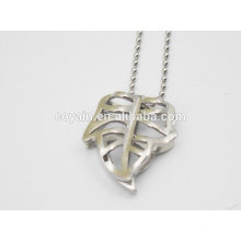Stainless steel hollow silver large leaf pendant necklace