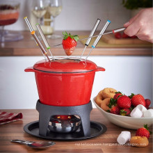 Chocolate cast iron Fondue Set With Burner and Color Coded Prongs