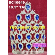 Diamante de banana banhado a prata grande tiara de diamante nupcial