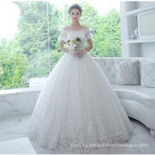 Guangzhou en línea de manga corta Appliqued vestidos nupciales del vestido de boda