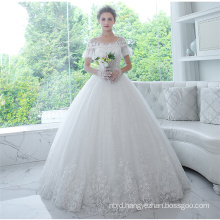Guangzhou Online Short Sleeve Appliqued Bridal Wedding Dress Gowns