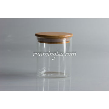 Tall Glass Jars Canister with Wood Lid