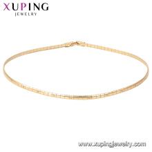 44696 xuping GZ moda mercado de jóias colar de corrente simples em 18k chapeamento fornecendo amostra grátis