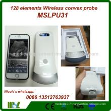 2016 Nouvel arrivant 3.5MHz / 7.5MHz / 10.0Mhz à main bon marché 128 éléments ipad échographie scanner / scanner à ultrasons sans fil MSLPU31i