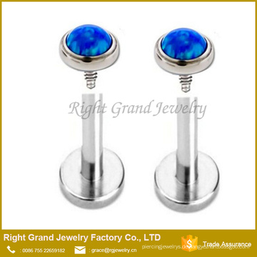 Chirurgenstahl Internal Threaded Feueropal Labret Monroe Lip Tragus Piercing Körperschmuck