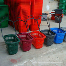 Supermarket Rolling Plastic Shopping Basket with Wheel