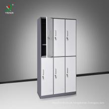Derrubar o armário de armazenamento de pano de aço de 6 portas
