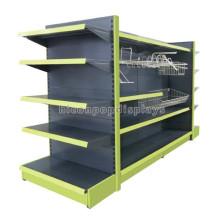 Merchandising-Ausrüstung 4-Wege-Freestand-Metall-Supermarkt oder Lebensmittelgeschäft Gondel-Display-Einheit