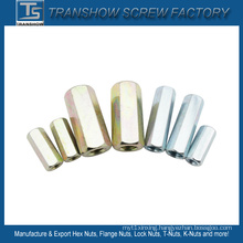 1/4-7/8 Galvanized Steel Finished Long Hex Nuts