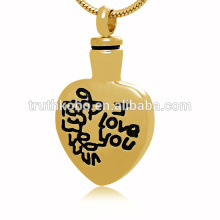 Vintage mademoiselle crémation bijoux forme de coeur collier pendentif urne de crémation