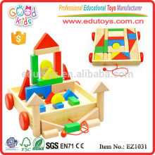 EZ1031 Factory price 30pcs colorful creative Large Children Blocks Toy in cart