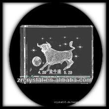 K9 3D Laser Taurus geätzter Kristallblock