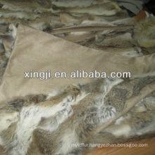 Patchwork Natural Rabbit Fur Blanket