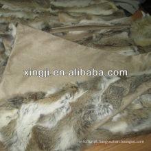 Cobertor de pele de coelho Natural Patchwork