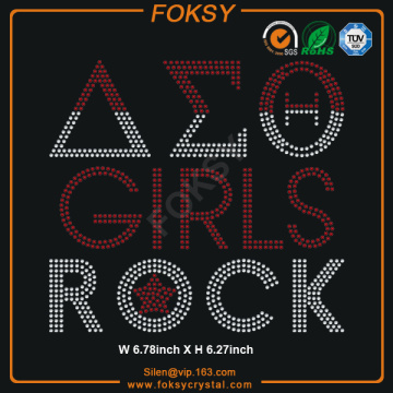Delta Theta Sigma GIRLS ROCK hot fix rhinestone transfer