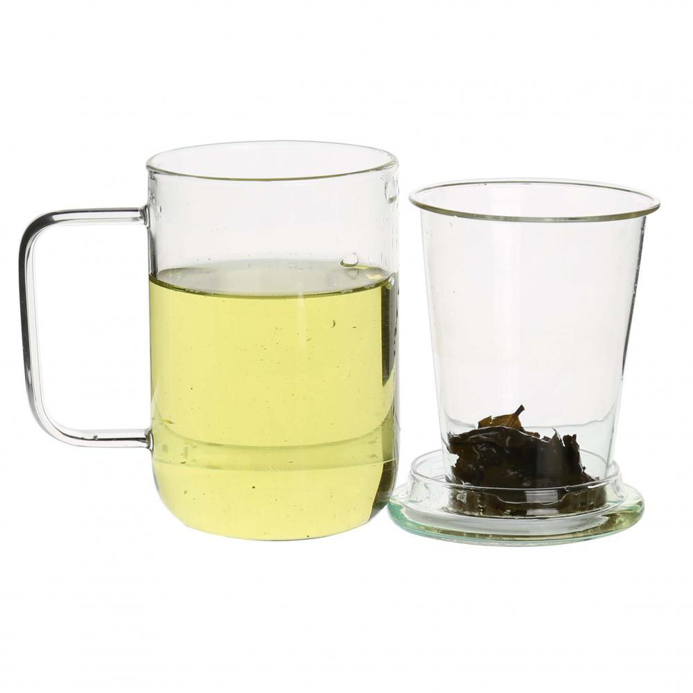 Glass Tea Cup With Infuser With Handle