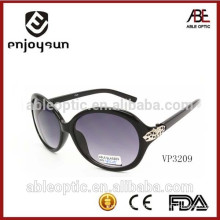 private label roud sunglasses with leopard head pattern hinge