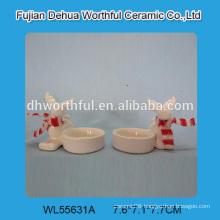 Wholesale bulk ceramic candle holder in christmas reindeer shape