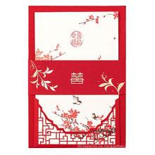 Tarjeta roja de la invitación de la boda del estilo chino de la felicidad doble roja de la impresión, diseño de la tarjeta de boda