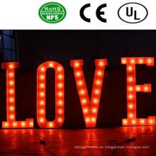 Muestra de alta calidad de la letra del bulbo del hierro del Lit del frente del LED