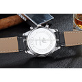 high quality original japan movement stainless steel case and genuine leather strap watches for man