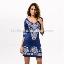 2017 femmes fabricant de vêtements imprimé en gros à manches longues Maxi robe