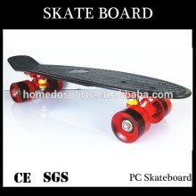 Black deck PU wheel transparent PC Skateboard
