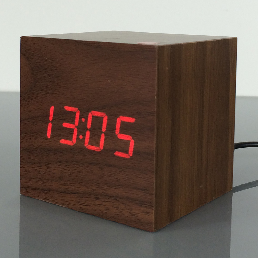 Ksw101 Red Led Clock Brown Color