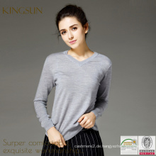 Plain Modell Pullover für Mädchen, Wolle V-Ausschnitt Pullover Design für Frauen