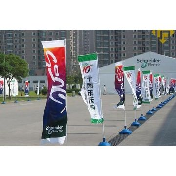 Bendera Banner Rectangular Outdoor Flying Dengan tiang bendera