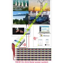 Sistema de geração de energia solar 15KW Solar On-grid; Produção de eletricidade 70 ~ 100KWh / dia